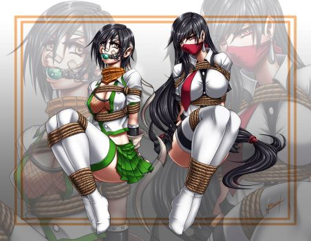 Jenova Highschool: Yuffie and Tifa tied by Karosu-Maker