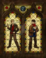 Merlin and Arthur stainedglass by umetnica