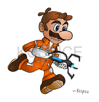 Super Mario with a Portal Gun by lazlotheraccoon