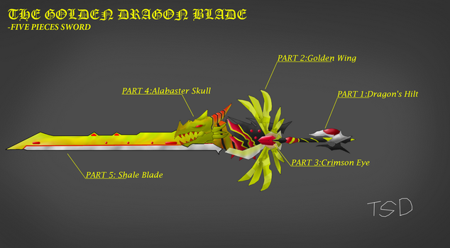 The Five Pieces Sword-The Golden Dragon Blade by TheSpecificDude