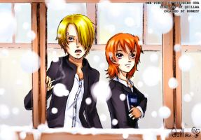 Sanji x Nami :: Snow by honeyf