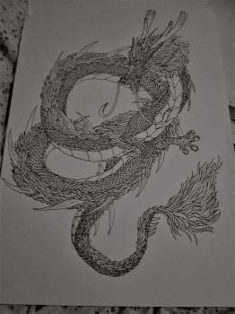 Lineart: Chinese dragon by Kxeron2