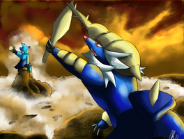 Samurott and Dewott by Phatmon66