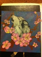 Mixed Media Howling Wolf with blossums by Sheori22