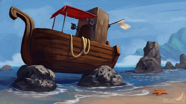 1h45 Speedpainting - A little boat. by ICart-Paint