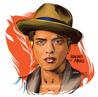 Bruno Mars on Line Vector Pop Art Portrait by bakawanzone