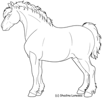 Draft Horse lineart by ShadinaLonesea