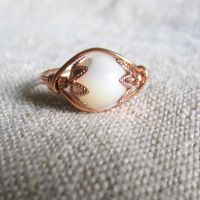 Mother of Pearl Lotus Ring by stellachan