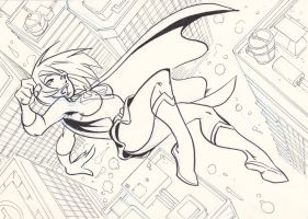 Supergirl flying by NachoMon