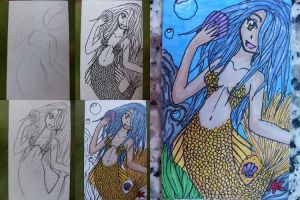 Mermaid Card Step by Step by WolfAngel113
