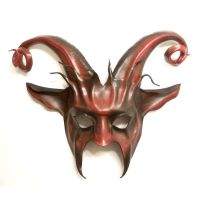 Leather Goat Mask Curled horns Baphomet Krampus by teonova