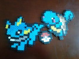 Perler Pokemon Sprites: Squirtle and Vaporeon by SoupInsanity