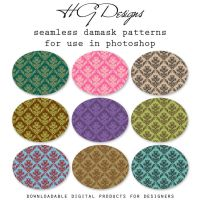 Seamless Damask Photoshop Patterns by HGGraphicDesigns