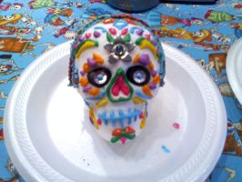 My first REAL sugar skull! by Myrcury-Art