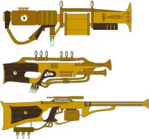 3 Steampunk Heavy Gun Designs by LandgraveCustoms