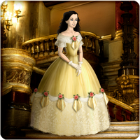 Roxanne in yellow ballgown by Arrelline