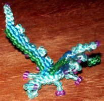 Beaded blue feathered dragon by Anabiyeni