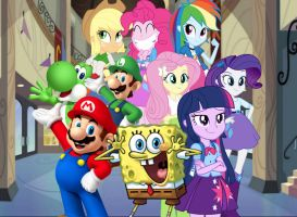 Equestria Girls x Bob Esponja x Super Mario Bros by AndresToons