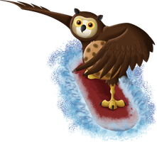 Owlet surfing by Teh-Scotty
