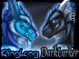 Badge Comish - DarkLurker and QingLong by TwilightSaint
