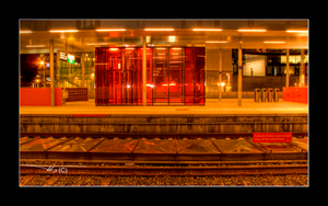 Red Train Station At Night Hdr by OrisTheDog