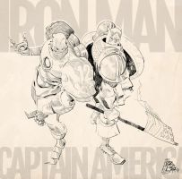 Iron Man and Capt. America by cromagnus