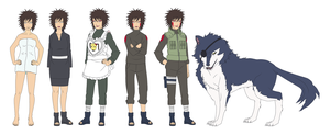 Tsume Inuzuka and Kuromaru Outfits Color by SunakiSabakuno