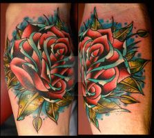 rose tattoo by dustinpooletattoos