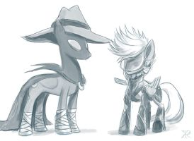 Mare Do Well and Grayscale by Xenethis-Chimera