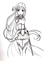 asuna lineart by fantasy-flower