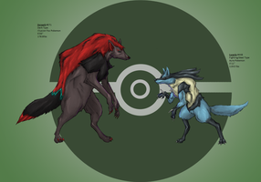 Lucario and Zoroark by Ragehowl