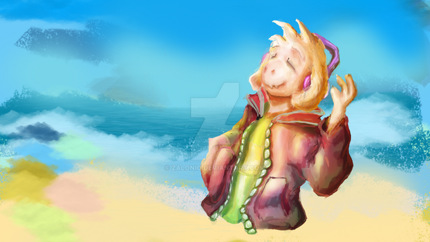 Asriel with a Red Jacket - Undertale Painting (WIP by Zalonio