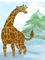 Giraffe in the Snow by CageyJay