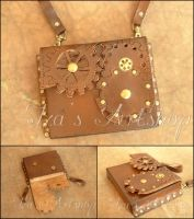 Small Steampunk Leather Belt Bag IV by izasartshop
