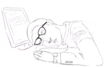 Archer Falls asleep at his keyboard by giraffesonparades
