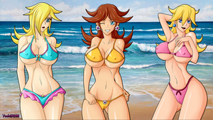 Peach Daisy and Rosalina Bikini Wallpaper by Yoshi9288