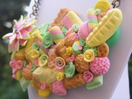 Polymer Clay Candy Bib Necklace by cynamonspice