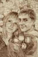 Couple portrait - Pyrography by Alina-207