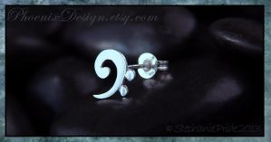 Bass Cleff Post Earring in Sterling Silver by StephaniePride