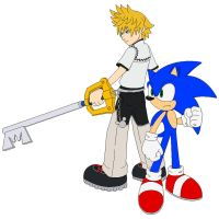 Roxas and Sonic by Zero20-2
