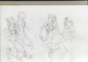 Priestesses and their guard -SKETCH by caixue