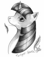 MLP : FIM - Twilight Sparkle Grayscale by Leena-chan
