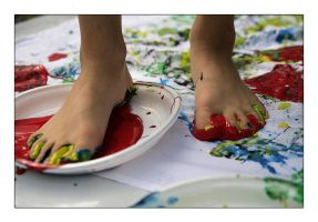 Foot in red paint by WillieMan