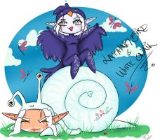 White Snail and Laughing Bird by FawnGoggler