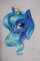 Luna. Watercolor pencils. by Heather-West