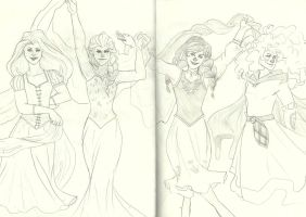 Princess Rapunzel, Elsa, Anna, and Merida by Lauraloveslily