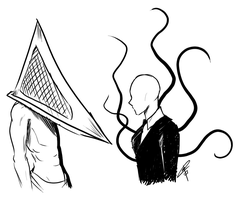Pyramid Head VS. Slenderman by ClaraKerber