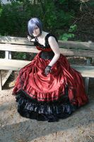 Black-red dress silver wig 2 by Noirin-Stock