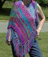 One Shoulder Shades of Purple Shawl by KarensKreationsToday