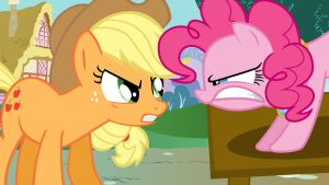 Angry Apple Jack and Pinkie Pie by Nothingall3n4